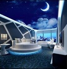 Fantasy night sky starry moon living room ceiling mural 3d murals wallpaper