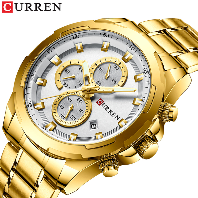 CURREN New Arrival Causal Style Auto Date Sporty Watches Men Business Quartz Wristwatch Stainless Steel Band Relogio Masculino