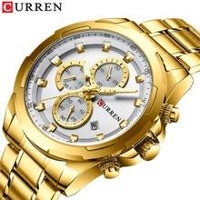 Часы наручные CURREN Мужские кварцевые, повседневные спортивные деловые, с автоматической датой, с браслетом из нержавеющей стали