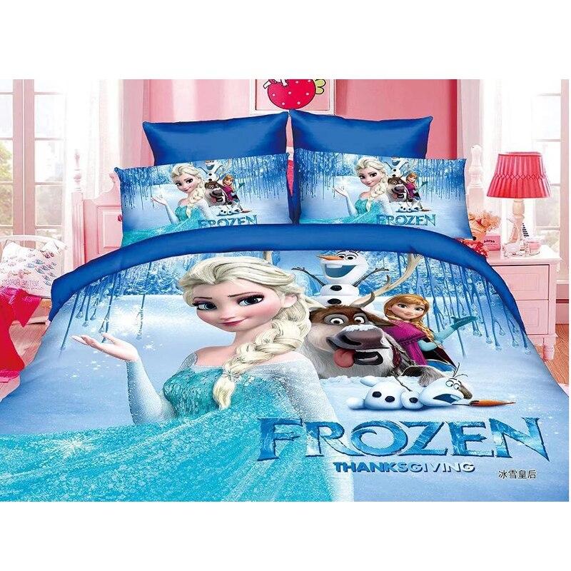 Disney Frozen Princess Practice Girls McQueen Car Moana Bedding Set Children's Boy's Girls Duvet Cover Set Bedroom Decor Twin