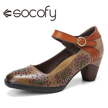 SOCOFY Retro Leder Floral Pumpen Hohl Schnalle Ankle Strap Chunky Heel Pumps Kleid Schuhe Frauen Schuhe Botas Mujer 2020