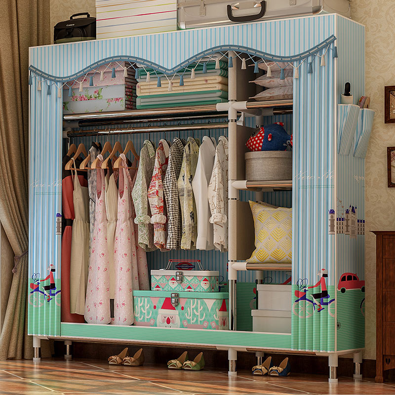Image 4 - COSTWAY Cloth Wardrobe For clothes Fabric Folding Portable Closet Storage Cabinet Bedroom Home Furniture armario ropero mueblesWardrobes   - AliExpress