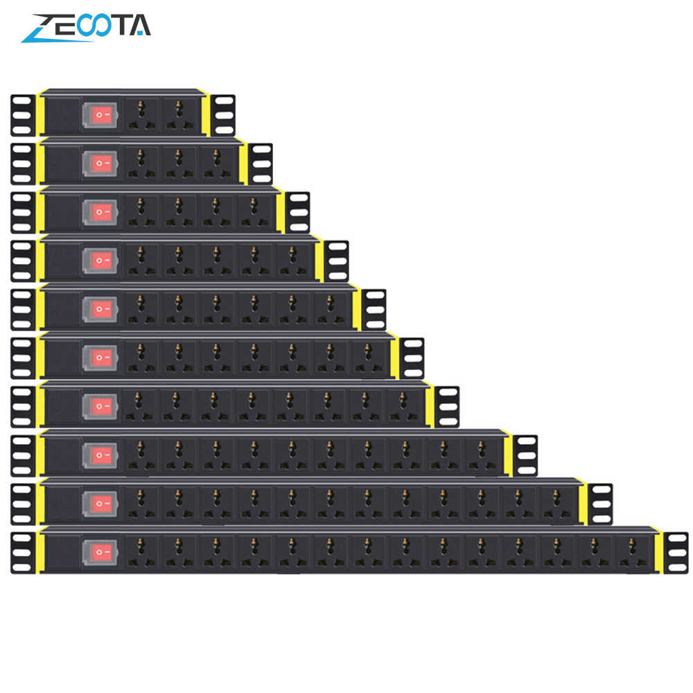 PDU 1U red gabinete Rack Power Strip Salida de distribución 1/2/3/4/5/6/7/8/10/12/14 unidades enchufe interruptor de toma Universal