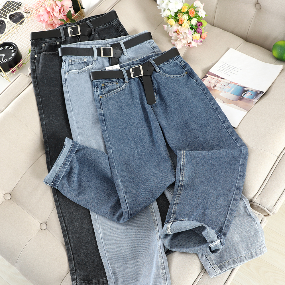 Mooirue Vintage Women Straight Long Jeans With Sashes High Waist Casual Streetwear Retro Bottoms Harajuku Korean Denim Pants