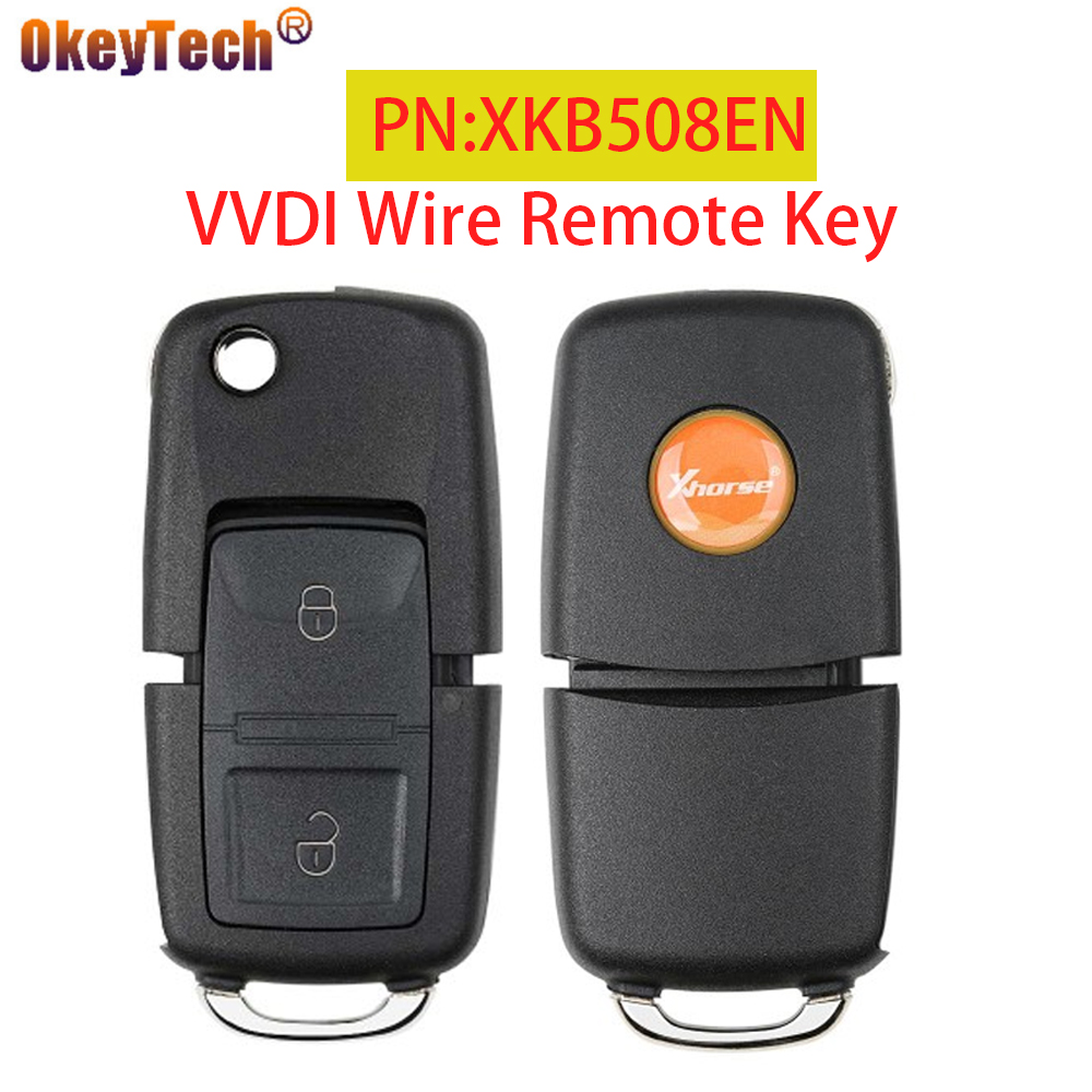 OkeyTech 2 кнопки Xhorse VVDI Универсальный проводной дистанционный Автомобильный ключ PN:XKB508EN B5 стиль ключ для мини-ключа инструмент/VVDI2 английская в...