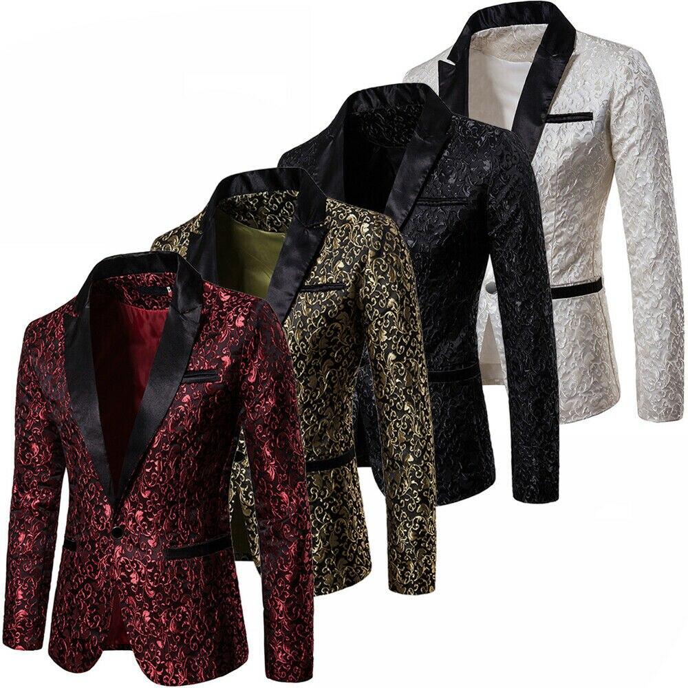 Velvet Silver Blazer Men Paisley Floral Jackets Wine Red Golden Stage Suit Jacket Elegant Wedding Mens Blazer Plus Size S-2XL
