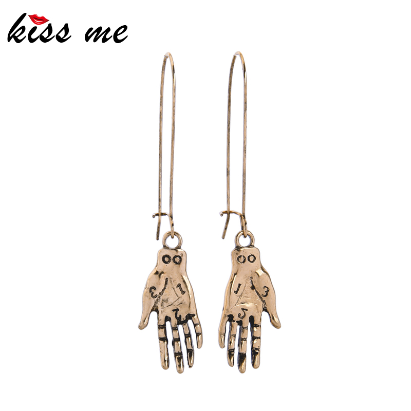 Kissme Punk Style Lettering Hands Drop Earrings For Women Gifts Vintage Gold Color Neo-Gothic Ear Hook Fashion Jewelry Wholesale