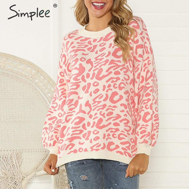 Simplee Leopard Print Women Knitted Sweater Autumn Winter O-neck Female Casual Jumper Long Sleeve Ladies Top Pullover 2019