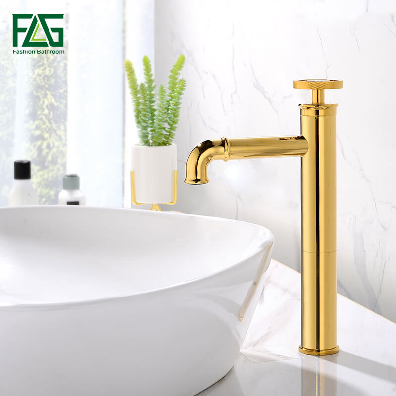 FLG Basin Faucets Single Handle Retro Brass Bathroom Sink Faucet Hot and Cold Water Gold Plated Mixer Tap 1156-22G