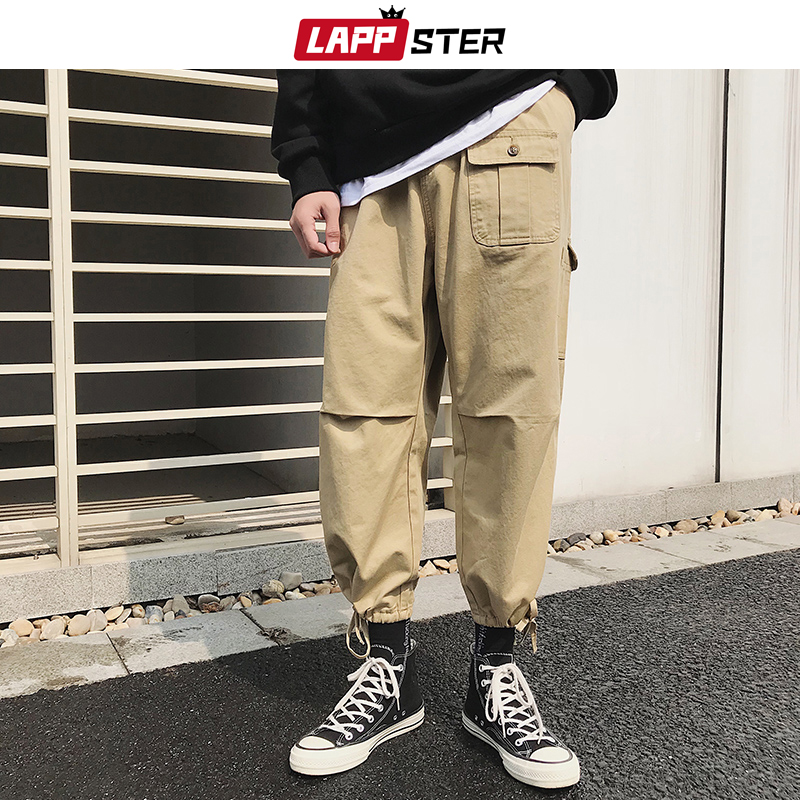 LAPPSTER Men Japanese Streetwear Harem Pants 2019 Overalls Mens Pockets Harajuku Cargo Pants Male Black Korean Fashions Joggers