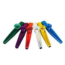 Металлические Карты флейта плеер игрушки подарок играть kazoo музыкальный инструмент случайный цвет крепкий Дети Образование
