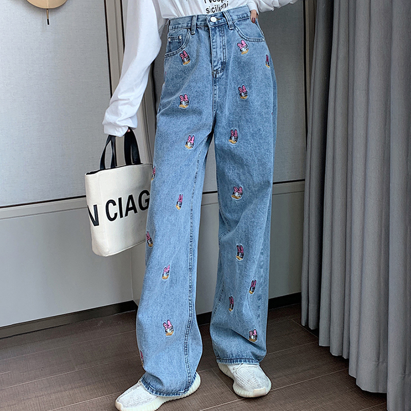 New Spring High Waist Women Jeans Female Embroidery Cartoon Duck Straight Demin Pants Loose Thin Slim Elegant Mop Pants