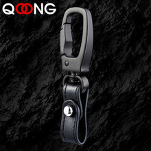 QOONG High-Grade Classic Men KeyChain Detachable Car KeyChains Buckle Genuine Leather Key Ring Holder Best Gift For Lover Y76
