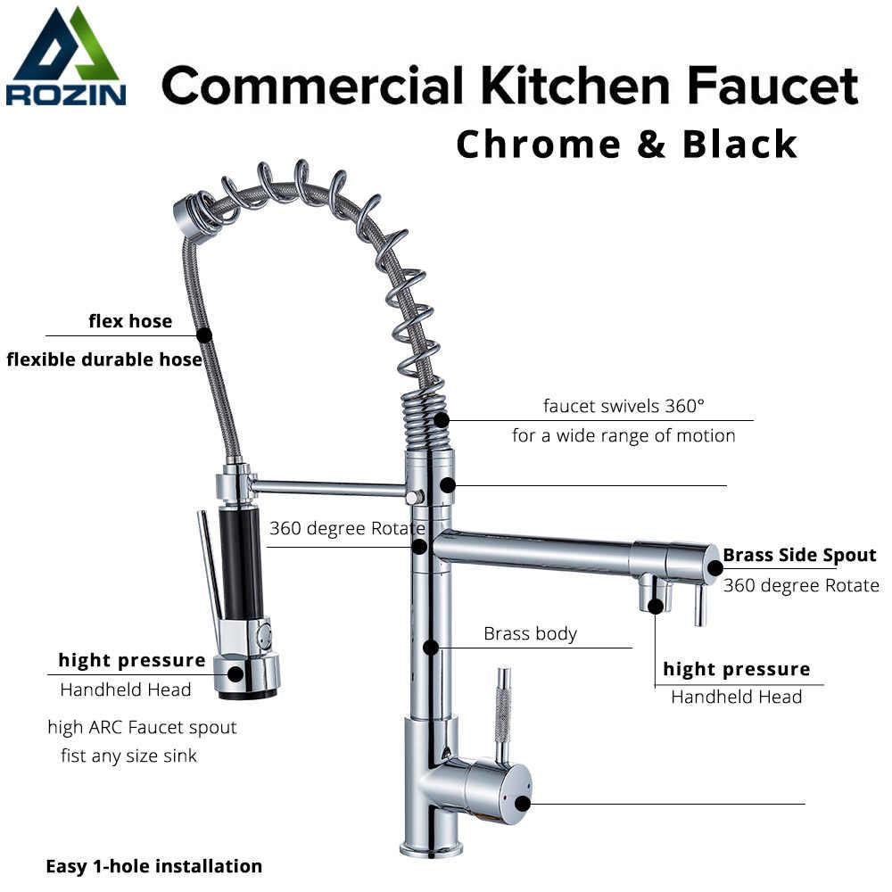 Rozin krom bahar aşağı çekin mutfak musluk çift çıkış delikli 360 döner el duş mutfak mikseri vinç sıcak soğuk musluklar