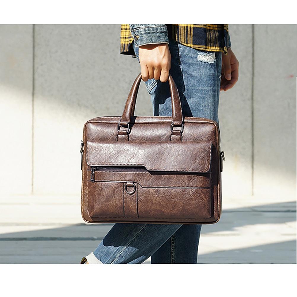Business Briefcase Leather Men Bag Luxury Leather Laptop Bag Man Shoulder Messenger Pack Male Casual Travel Handbag