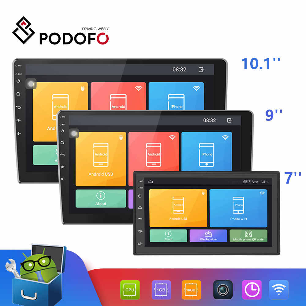 Podofo 2 Din Android Auto Multimedia Video Player Universele 2DIN Stereo Auto Radio Gps Voor Volkswagen Nissan Hyundai Kia Toyota