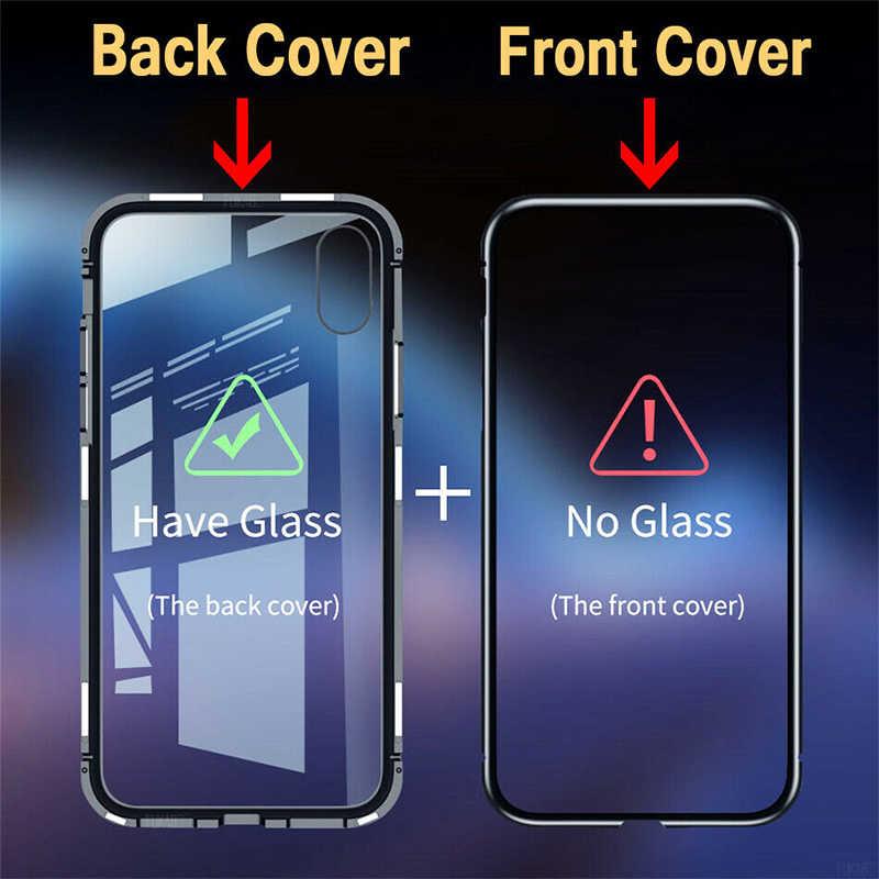 Adsorpcja magnetyczna etui na telefon IPhone 11 Pro X Xs Max Xr 8 7 6 S Plus metalowe szkło hartowane z magnesem