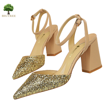 BIGTREE NEW Sexy Sandals Sparkly Fashion High Quality Summer Sandals Thick Heel tip Women Sandals 2020 Party Women Shoes women faux suede buckle strap platform thick high heel sandals fashion party cover heel print knot bow women shoes black