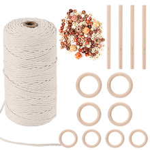 GoMaihe Macrame Cord 3mm x 150m and 110 Beads Set, 100% Cotton Rope Craft String Twine for Wall Hanging Plant Hangers Knitting