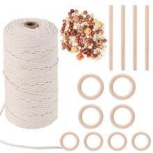 Gomaihe macrame cabo 3mm x 150m e 110 contas conjunto, corda de 100% algodão corda artesanato corda fio para a parede pendurado planta cabides tricô