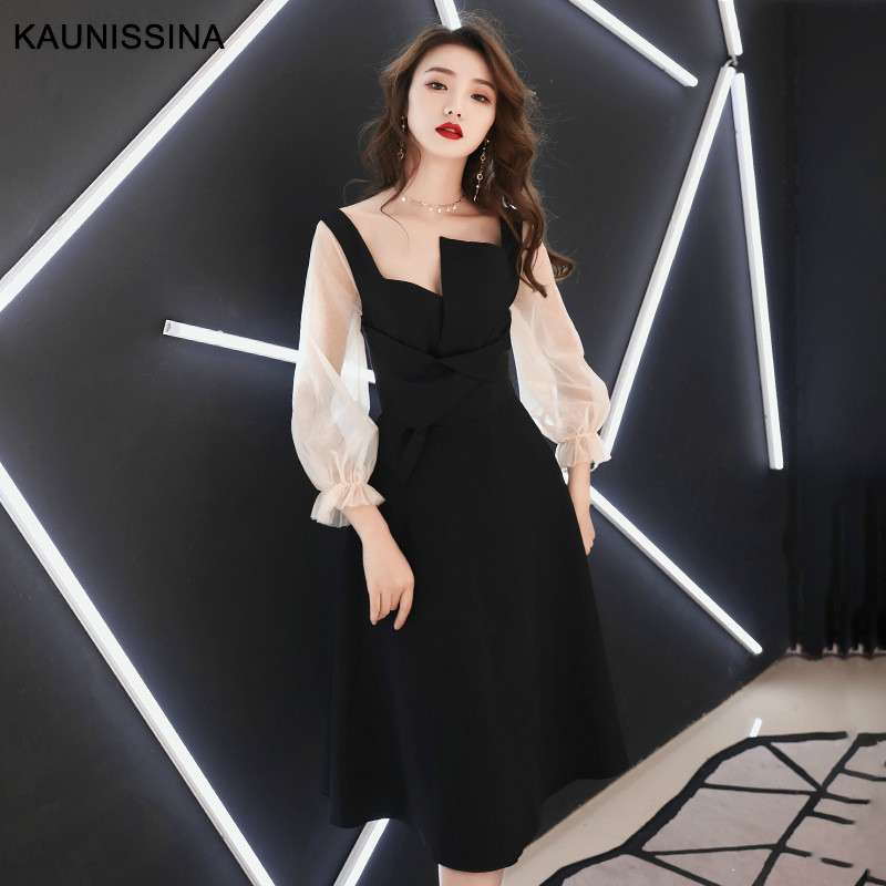 KAUNISSINA Party Dress Cocktail Gown New 3/4 Sleeve Elegant Cocktail Dresses Knee Length Homecoming Robe Celebrity Prom Dress