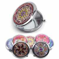Portable Foldable Pocket Metal Makeup Compact Mirror Woman Cosmetic Mini Beauty Normal Magnifying Mirror Double Sides Mirrors