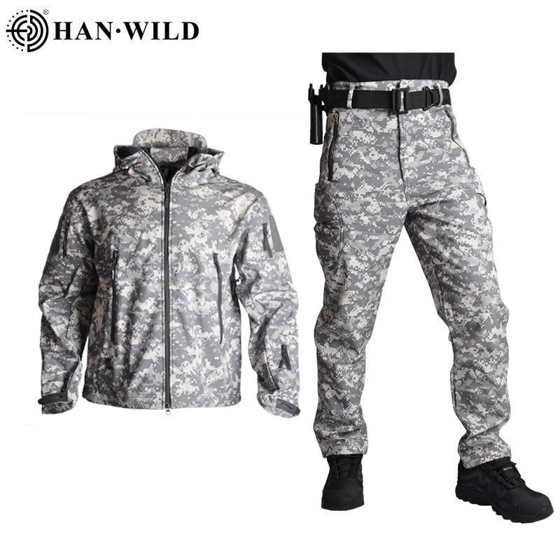 Hiking Jacket Hunting-Suit Shark-Skin Wild-Tad Military Army Soft Camo Windproof HAN