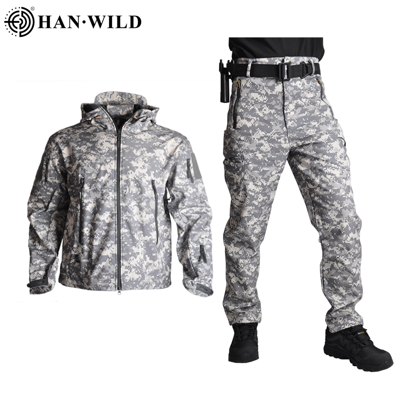 HAN WILD TAD Tactical Jackets Men Soft Shell Jacket Army Windproof Camo Hunting Suit Shark Skin Military Hiking Jacket+Pants