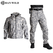 HAN WILD TAD Tactical Jackets Men Soft Shell Jacket Army Windproof Camo Hunting Suit Shark Skin Military Hiking Jacket+Pants 5XL