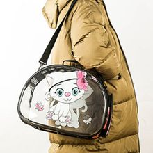 Pet Cartoon Printing Cat Bag Transparent Portable Out Carrying Mesh Breathable Supplies F42A