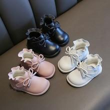 Г. Зимние ботинки для маленьких девочек детские сапоги теплые уличные ботинки для малышей с кружевом и нескользящей мягкой подошвой Детская плюшевая хлопковая обувь