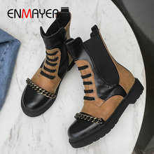 ENMAYER 2019 Boots Women Fashion PU Lace-Up Mid-Calf Basic Short Plush Round Toe Warm Square Heel Winter Shoes Size 34-43