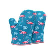 Перчатки для духовки с разноцветными рисунками фламинго 18 х28