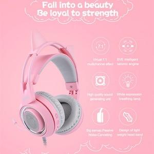 Image 2 - SOMIC G951 USB 7,1 Headset Surround Sound Gaming Kopfhörer Bass Casque mit Katze Ohr Mic vibration für PC Notebook Rosa kinder Mädchen