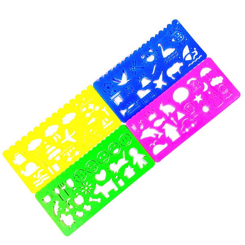 4 pçs/set Kawaii Doce Cor Desenho Template Régua Régua De Costura Acessórios de Escritório Escola