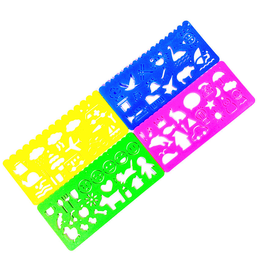 4Pcs/Set Kawaii Candy Color Drawing Template Ruler Sewing Ruler Office School Accessories