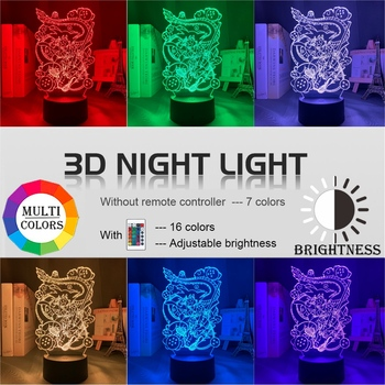 Japanse animatie draken 3D Led Lamp/Nachtlamp 3
