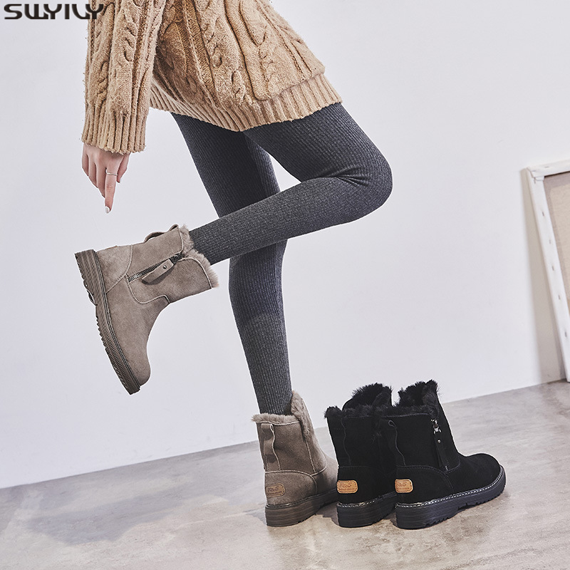 SWYIVY Flat Leather Boots Women Zip Short Plush Winter Shoes Women 2019 Warm Ladies Boots Ankle Sewing Fashion Black Shoes Woman