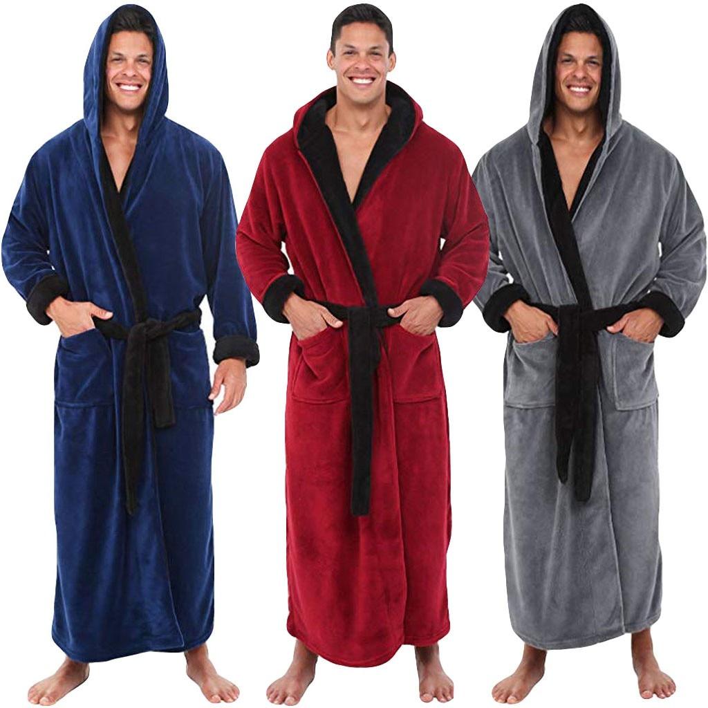 Men/'s Warm Plush Lengthened Shawl Bathrobe Home Clothes Long Robe Coat Hooded