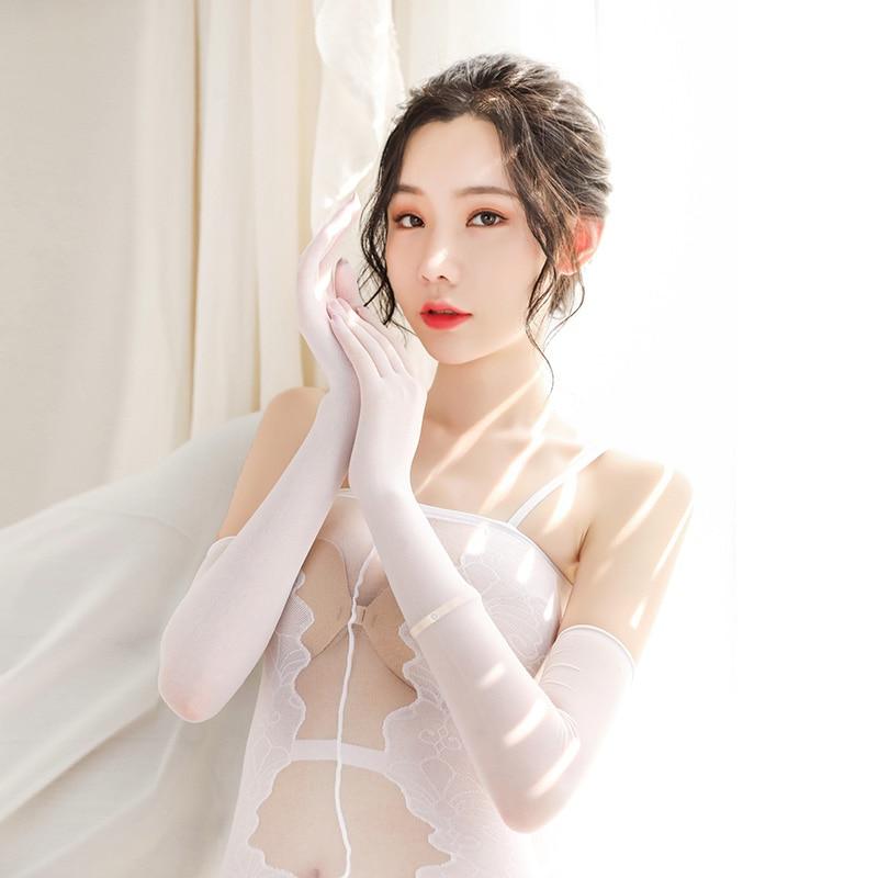 New Sexy Transparent Anti-hook Ladies Gloves Stockings Bride Long-sleeve Arm Women Sunscreen Gloves Liturgy Ladies Long Gloves