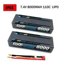 Dxf 2 pces bateria rc lipo 2 s 7.4 v 5200mah 6200mah 6500mah 8000mah 50c 100c 120c 240c 4.0mm hardcase para slash 4x4 carro