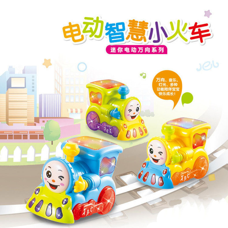 Children'S Educational Fun Locomotive Story Car Story Machine Electric Universal Small Train 3D Light And Music Train