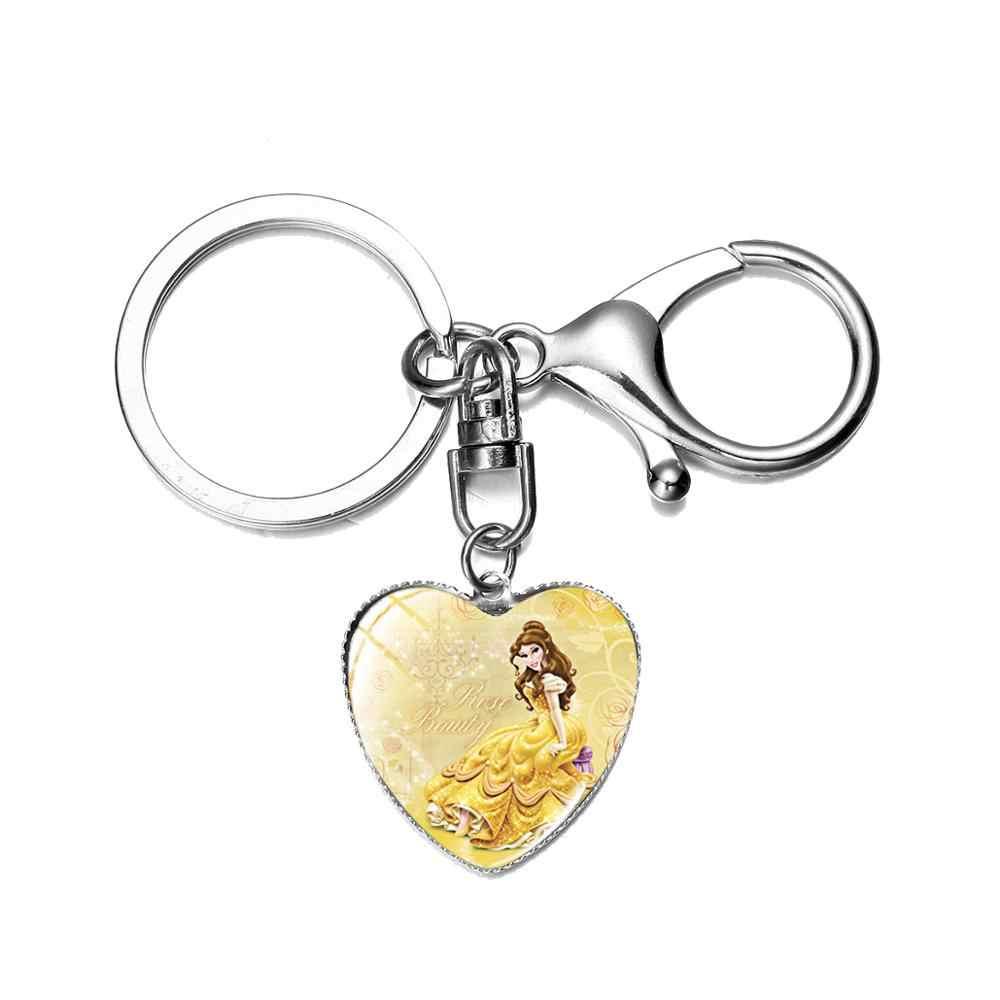 SONGDA חמוד נסיכת Cartoon איור Keychain אריאל שלג לבן Belle סינדרלה מפתח טבעת בנות בית ספר תיק תליוני יום הולדת מתנה