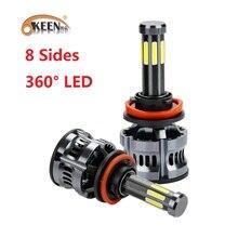 OKEEN 360 학위 조명 자동차 헤드 라이트 전구 H7 H4 H8 LED 램프 H11 H9 9005/HB3 H1 H3 9006 LED 전구 안개등 전조등