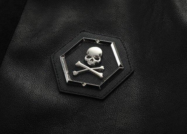 2021 Skull Rhinestones PU Jackets Men Black High Street Stand-Neck Zipper Rib Sleeve Streetwear Motorcycle Faux Leather Coats 5