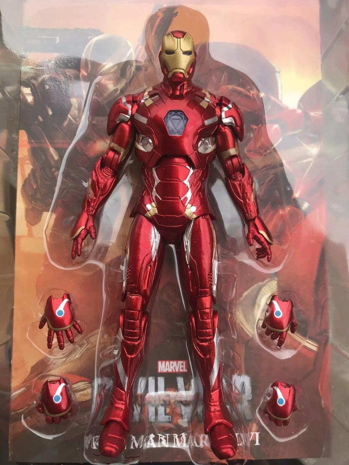 17cm Marvel Iron Man Light Movable Avengers Movie Action Figure PVC Collection Model Toys For Christmas Gift