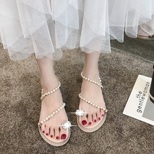 Liren 2019 Summer Fashion Casual Lady Sandals Beach Holiday Flat Heels Women String Bead Ankle Strap Shoes