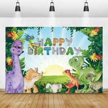 Laeacco Birthday Photozone Tropical Jungle Dinosaur Green Leaves Photography Backdrops Photo Backgrounds For Photo Studio Props