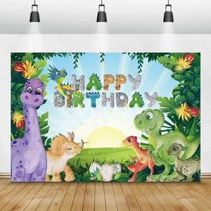 Image 2 - Laeacco Geburtstag Kulissen Dschungel Party Jurassic Welt Dinosaurier Neugeborenen Fotografie Hintergründe Baby Dusche Photophone Photocall
