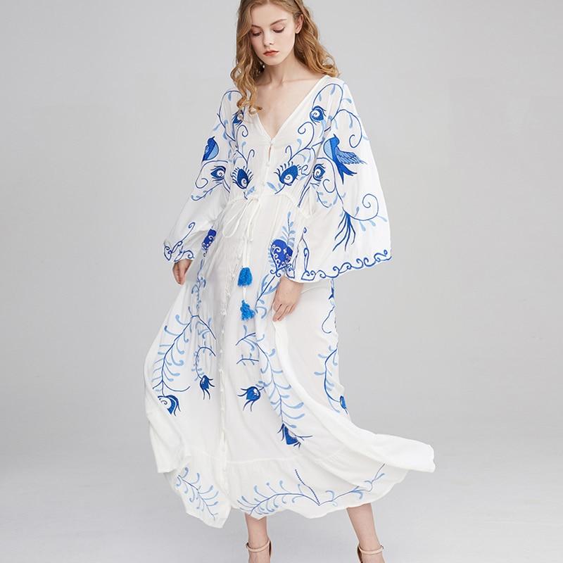 TEELYNN Maxi Dress For Women 2020 Vintage White Cotton Floral Embroidery Dresses Sexy V-neck Dress Brand Boho Dresses Vestido